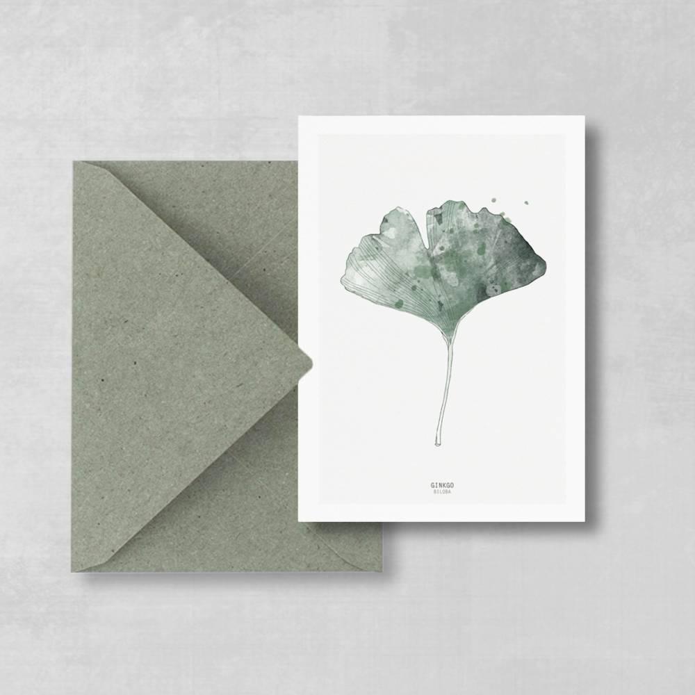Postkarte Gingko-Blatt, botanische Postkarte Bild 1