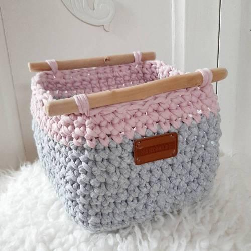 Utensilo aus Textilgarn-rosa-grau