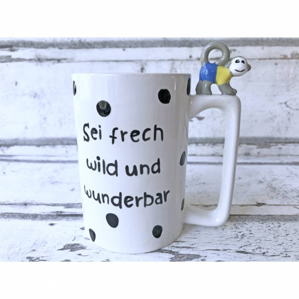 Tasse,Äffchen,Sei frech wild und wunderbar,300ml, Keramik, handbemalt, personalisierbar Bild 1