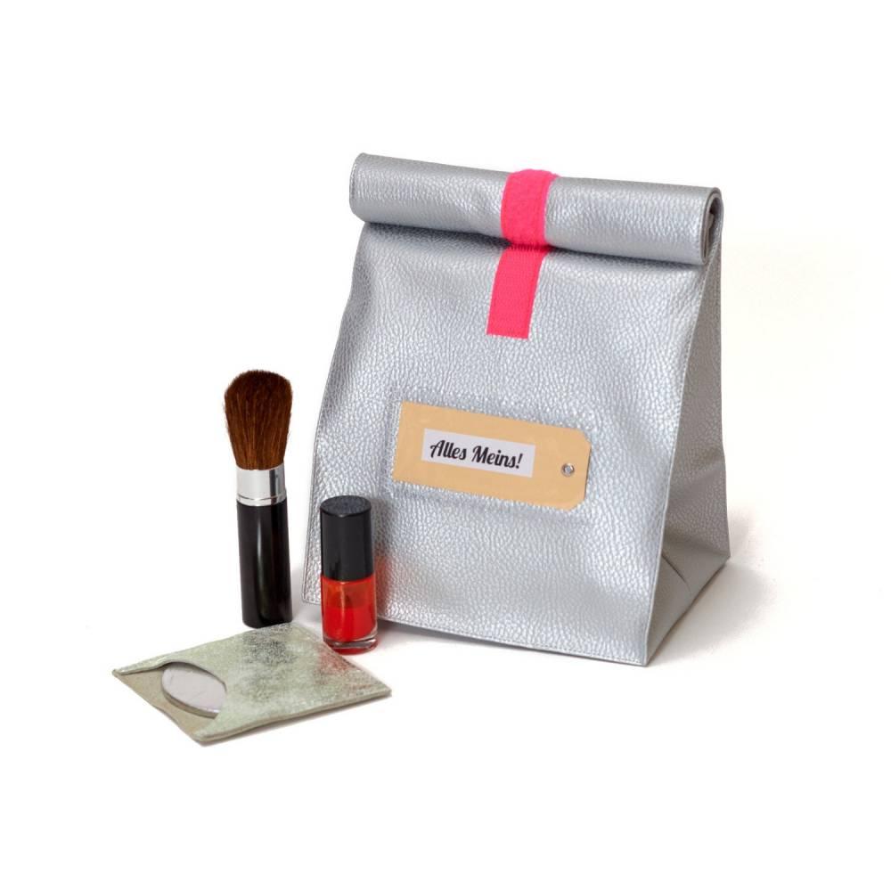 Lunchbag/ silber/ metallic/ Kunstleder/ Neonklett/ Schminktasche/ Frühstücksbeutel/ Kulturbeutel Bild 1
