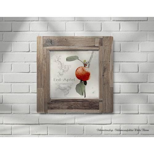 ERDAPFEL Früchte Äpfel Erdbeere Bild auf Holz Leinwand Print Wanddeko Landhausstil Shabby Chic Vintage Style