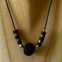 Kurze Kette aus Keramikperlen, schwarz silber, 39 - 43cm, Halskette aus Keramikperlen, Kette, Schmuck, Keramikschmuck Bild 1