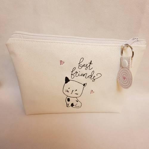 Kosmetiktasche Katze Schminktasche Stifttasche Mäppchen Cat Herz Mädchen Tasche mit Anhänger