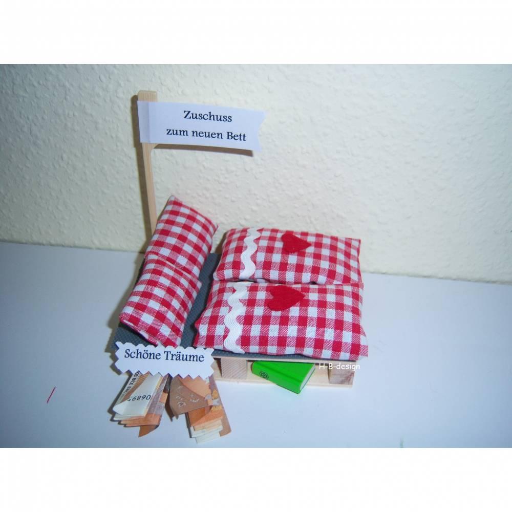 Geldgeschenk, Gutschein für dein neues Bett, Bettwäsche, Geschenk, Geldgeschenkverpackung, Bild 1