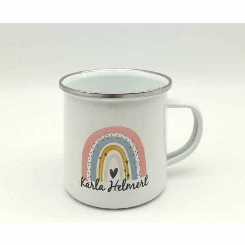 """Tasse mit Namen personalisiert Motiv """"Regenbogen pfirsich"""""""