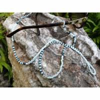 """Brillenkette """"blue Zebra"""" Maskenkette Brillenband Glasperlen - hellblau - dunkelblau  Bild 1"""
