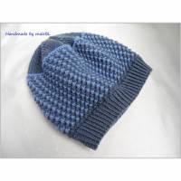 Kindermütze, handgestrickt aus Wolle (Merino) blau Bild 1