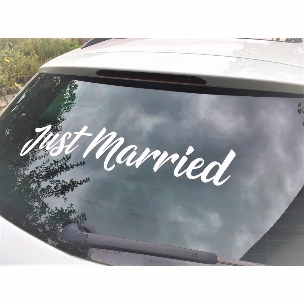 """Aufkleber """"Just Married"""" für Ihre perfekte Hochzeit ! Heckscheibenaufkleber in div. Farben und Größen für das perfekte Hochzeitsauto ! Bild 1"""