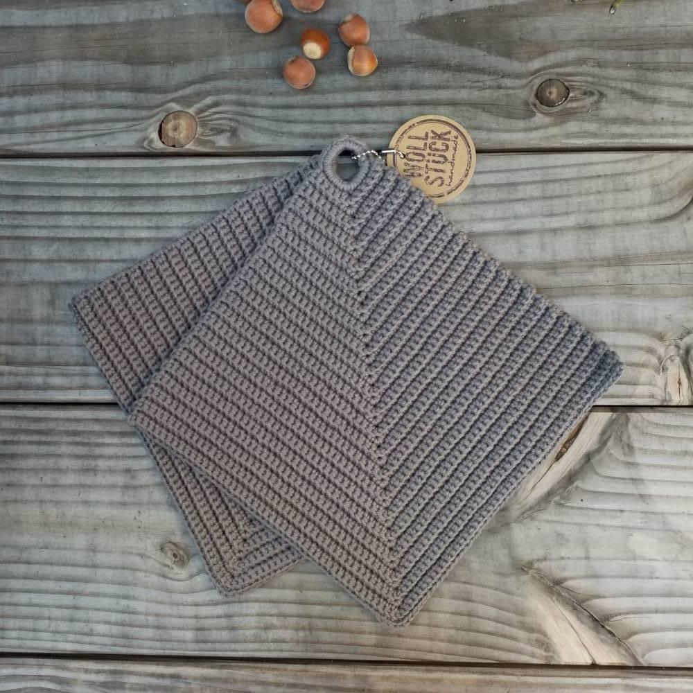 Topflappen gehäkelt - Baumwolle-/Leinengemisch - grau Bild 1