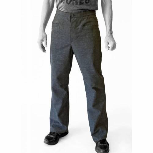 Männer HOSE mit schrägen Taschen, Wolle, grau meliert, Vintage Stoff DDR