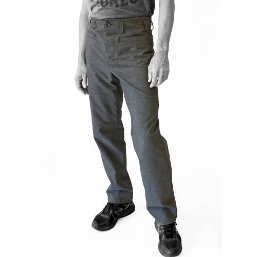 MÄNNER-HOSE mit angeschnittener Bund, Wolle, grau, DDR Vintage Stoff