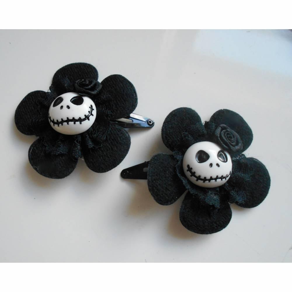 Skull  Blume Stoff schwarz Totenkopf ,Haarspange ,cosplay, Spitze,  Bild 1