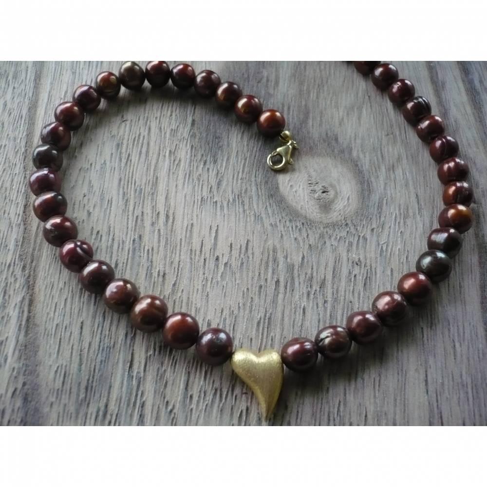 Schoko-Braune Süßwasser Perlenkette mit Echt Silber verg.Herz,Echte Perlenkette,Handgefertigte Süßwasser Perlenkette,Traumhaft schöne Perlenkette  mit Herz Bild 1
