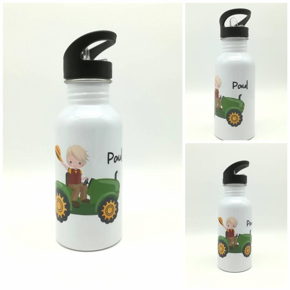 """Trinkflasche mit Namen """"Traktor """"/ Kindergarten/ Schule/ Sport/ 500ml mit Strohhalm Bild 1"""