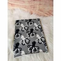 Baumwolljersey, Jersey, Oktopus Schwarz Weiß auf Grau 0,5 x VB Bild 1