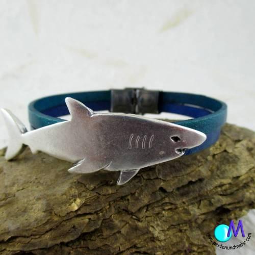 Hai echt Leder Armband für den Mann in Wunschlänge ART 4102