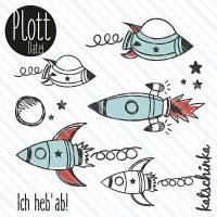 Plottervorlage Rakete / Weltraum / Raumschiff - Plottdatei zum selber plotten Bild 1