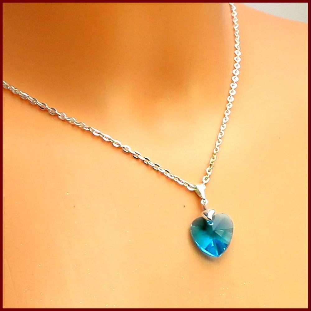 """Ketten-Anhänger """"Coralie"""" facettiertes Kristall-Herzchen blau versilbert (ohne Kette) Muttertag, Valentinstag  Bild 1"""