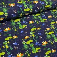 Baumwolljersey Druck - Frösche – Premium Collection grüner Frosch auf dunkelblau  für alle Froschliebhaber Kinderstoff  Bild 1