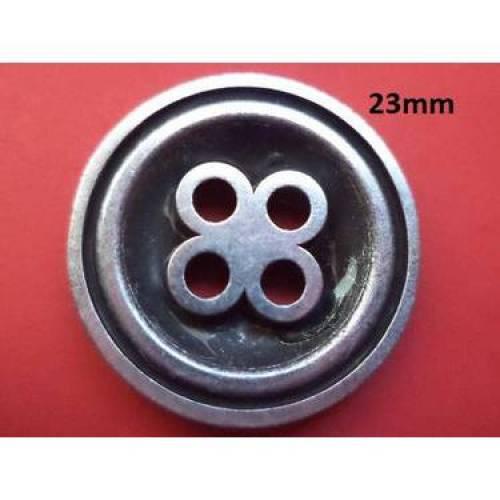 Metallknöpfe 23mm silbern schwarz (4225) Knöpfe