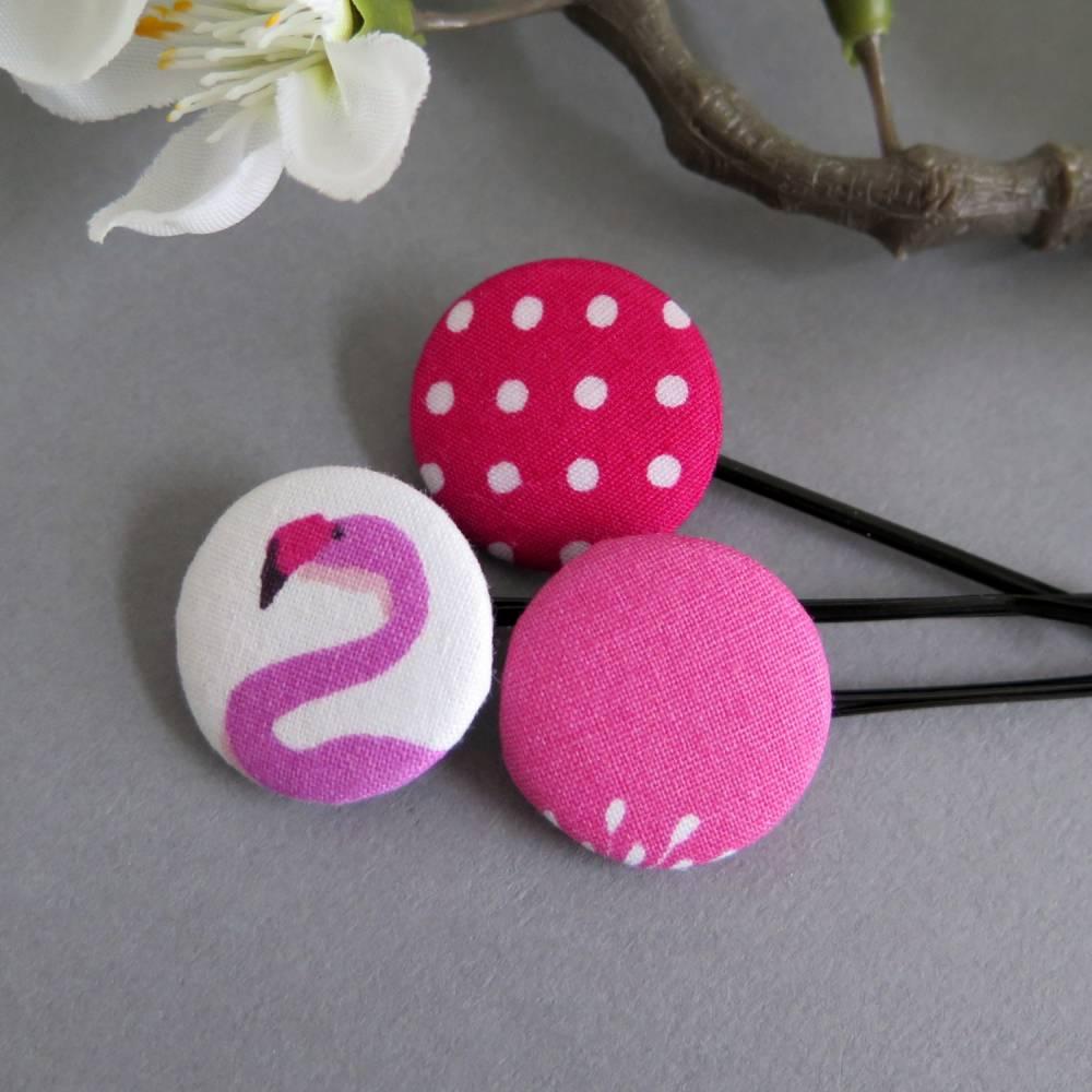 3er-Set Haarklammern Haarnadeln Flamingo pink weiß Punkte Geschenk Mitbringsel Bild 1
