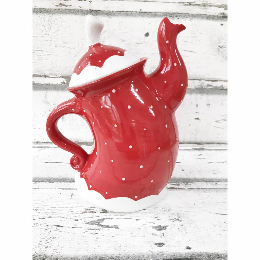 tanzende Teekanne ,rot mit weissen Punkten, 1,5l, aus Keramik, handbemalt Bild 1