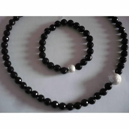 Schwarze Onyx-Halskette,Handgefertigte Schwarze Edelstein-Kette,Traumhaft schöne Onyx-Halskette,Sehr ausgefallene Onyx Kette mit geschliffenen Steinen,Geschenk