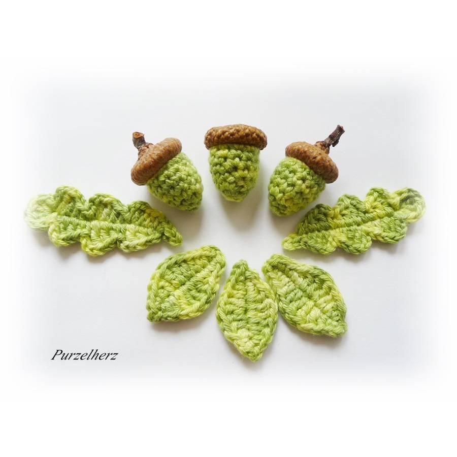 8- teiliges Set Gehäkelte Eicheln mit Blättern - Herbstdeko,Tischdeko, Streudeko - herbstlich - grün,naturbraun Bild 1
