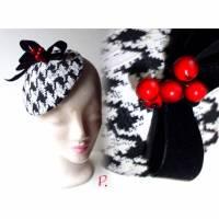 Cocktail-Hütchen, Headpiece / Hahnentritt-Muster/ schwarz-weiß / one size; 17 cm Durchmesser Bild 1