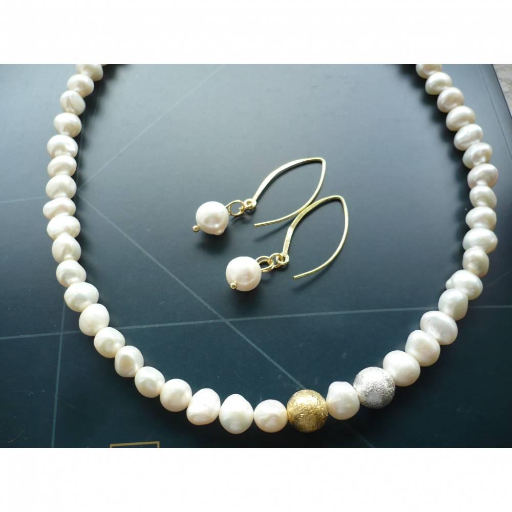 Handgefertigte Süßwasser Perlenkette,Echte Perlen Kette,Perlenkette mit Echt Silber Kugel,moderne Perlenkette,Braut Schmuck,Perlenkette Hochzeit Bild 1