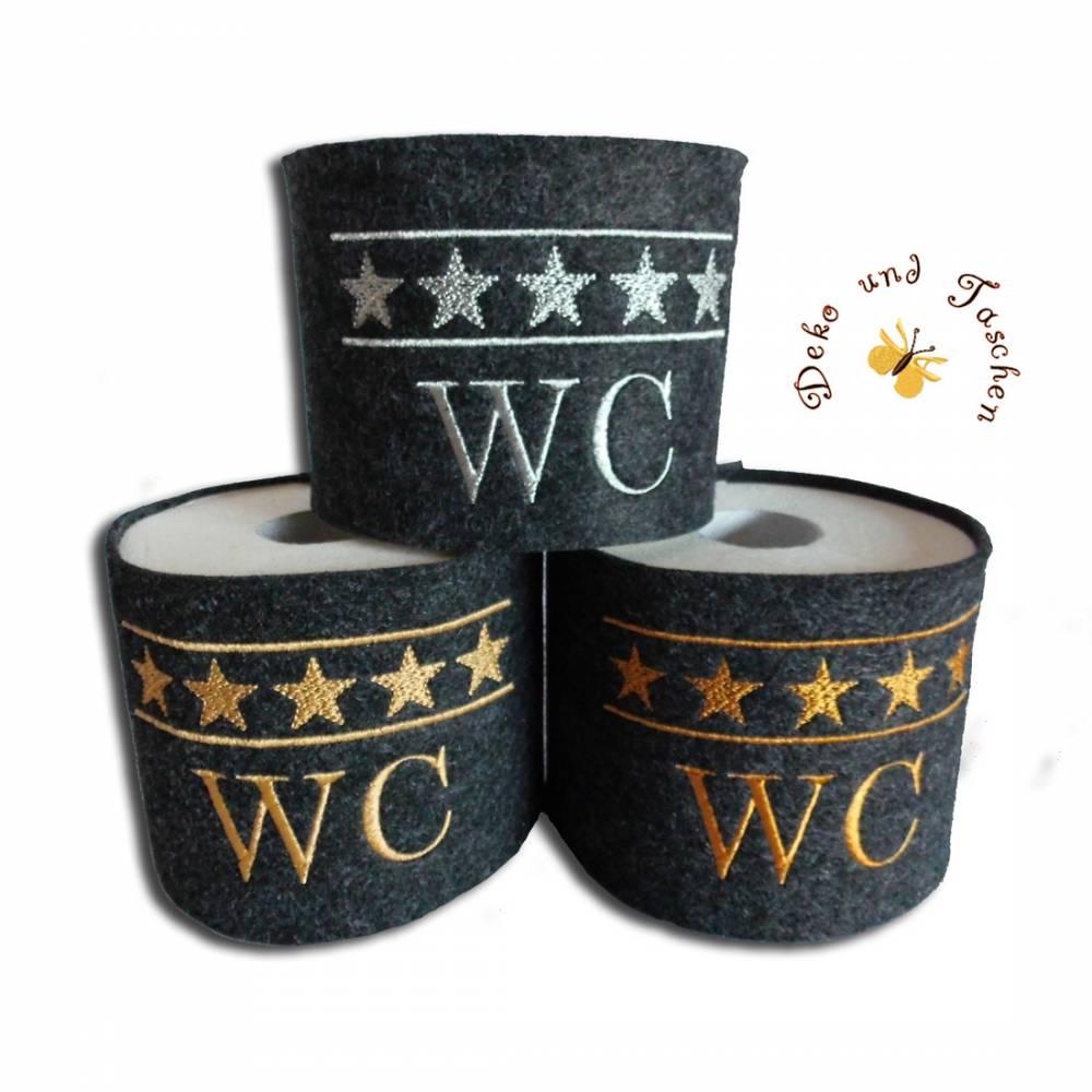 5 Sterne WC Banderole für Toilettenpapier bestickt schwarz-meliert / früher Häkelrolle Klopapierhut witzige Geschenkidee Mitbringsel Partygeschenk Wichtelgeschenk mit Monogramm  Bild 1