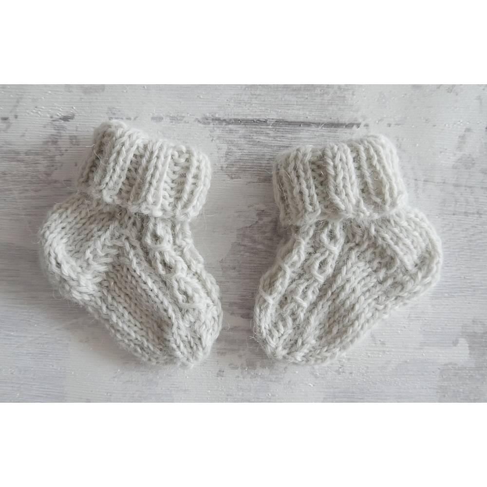 Babysocken gestrickt 0 bis 3 Mon, Ecru 100% Wolle vom Alpaka Bild 1