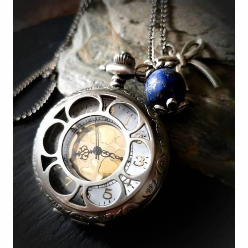 Kettenuhr, Uhr, Damenuhr,Vintage-Stil,Uhrenkette, Halskette mit Uhr ,Bicolor