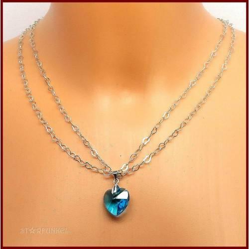 """♥ Schmuckset """"Coralie"""" Halskette 2-reihig und Ohrringe mit Kristall-Herz blau /versilbert"""