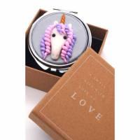 Taschenspiegel mit Einhorn aus Fimo - in Geschenkbox Bild 1