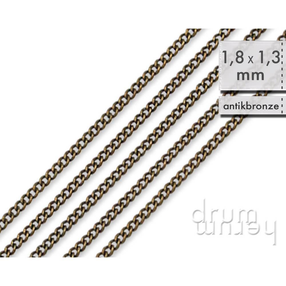 5 m (84 ct/m) Panzerkette 1,8 x 1,3 mm _ dünne, stabile Kette aus Messing _  antikbronzefarben Bild 1