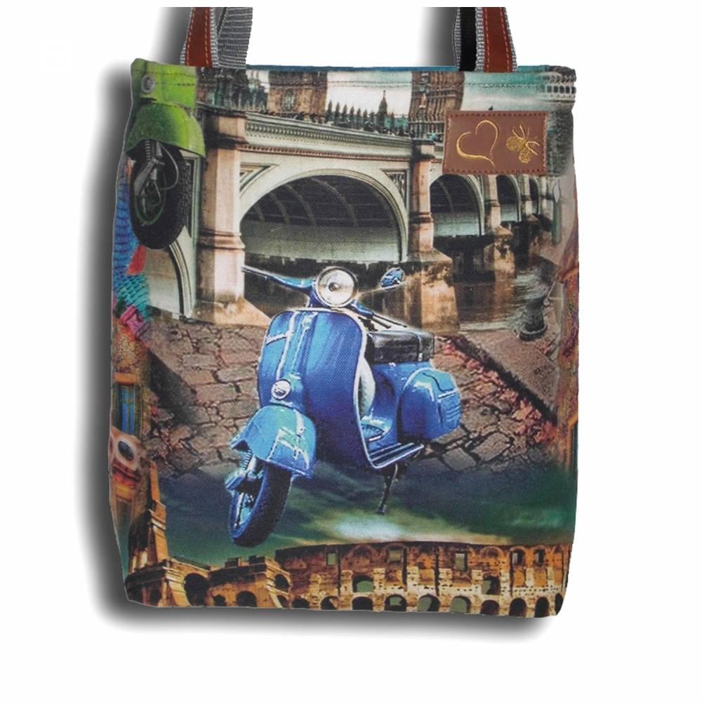 Filztasche Vespa Businesstasche Uni-Tasche Shopper Umhängetasche Schultertasche für Damen und Herren personalisiert bestickt mit Monogramm Bild 1