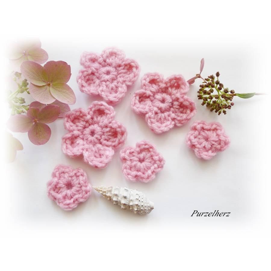 6-teiliges Häkelblumen-Set - Gastgeschenk,Häkelblumen,Tischdeko,Streudeko,Bad - dunkelrosa  Bild 1