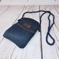 Mini-Täschchen, Handytasche, Umhängetasche, Jeans Upcycling Bild 1