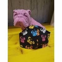 Behelfsmaske, Gesichtsmaske Mops Hund , Nasen-Mund-Bedeckung , Maske, snutenpulli, Rockabilly , retro Bild 1