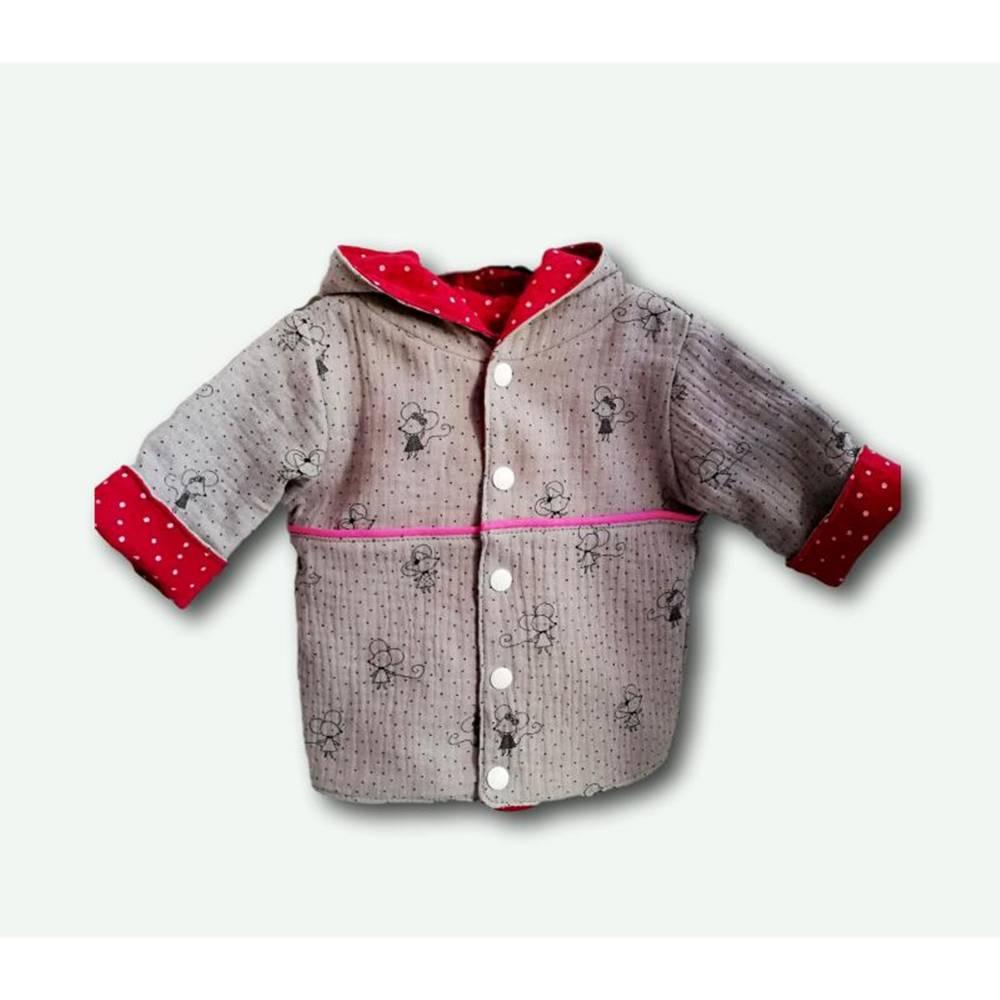 Babyjacke, Kinderjacke Zipfeljacke, Musselin Maus grau-fuchsia 56-116 Bild 1