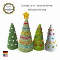 """Häkelanleitung Elealinda-Design """"Kunterbunte Weihnachtsbäume"""" Tannenbaum Weihnachten Weihnachtsdeko PDF Ebook Bild 1"""