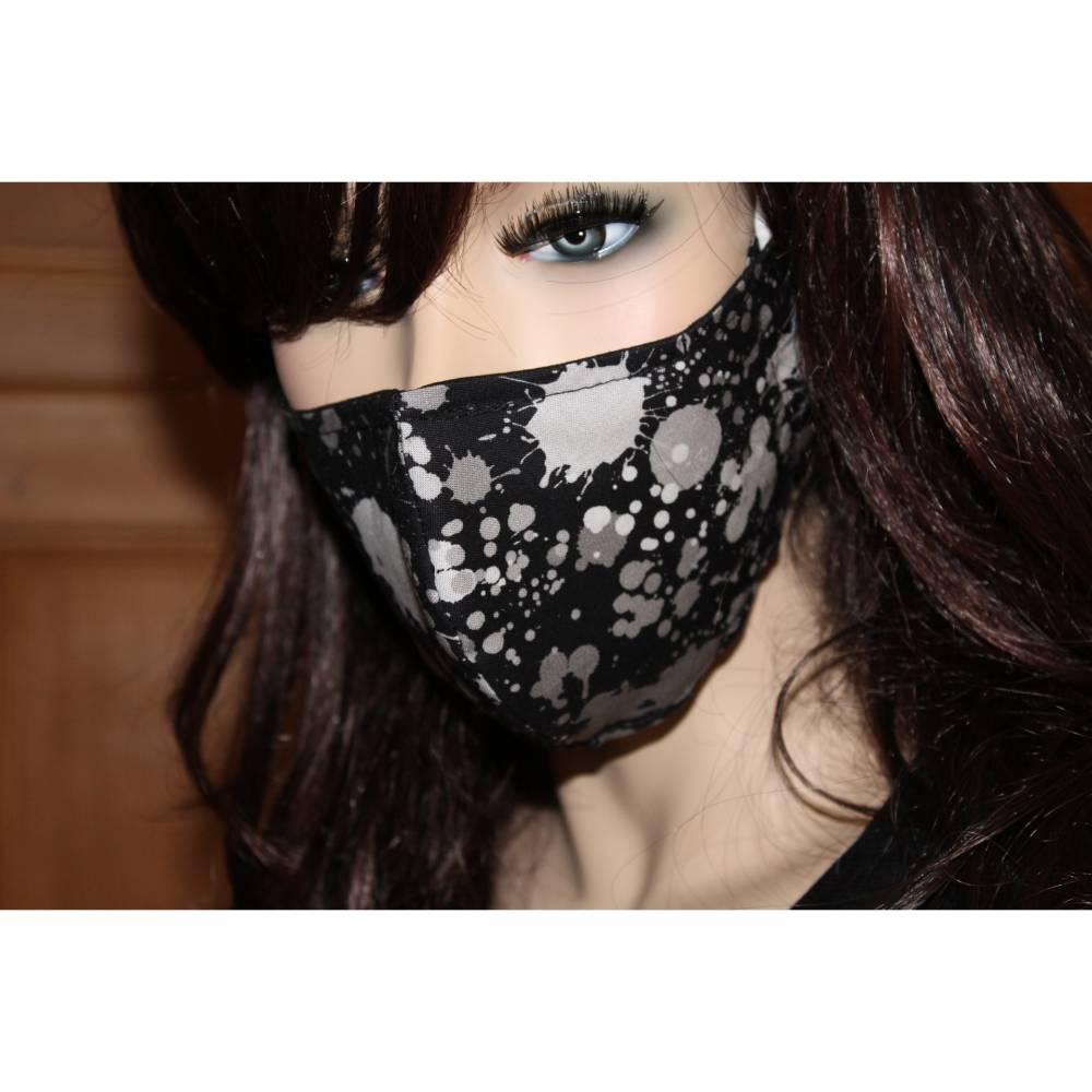 Gesichtsmaske/ MundNasenMaske/ Baumwolle/ 2-lagig/ waschbar 60 Grad/ Behelfsmaske/ Mundbedeckung/ Nasendraht * SPLASH II * Bild 1