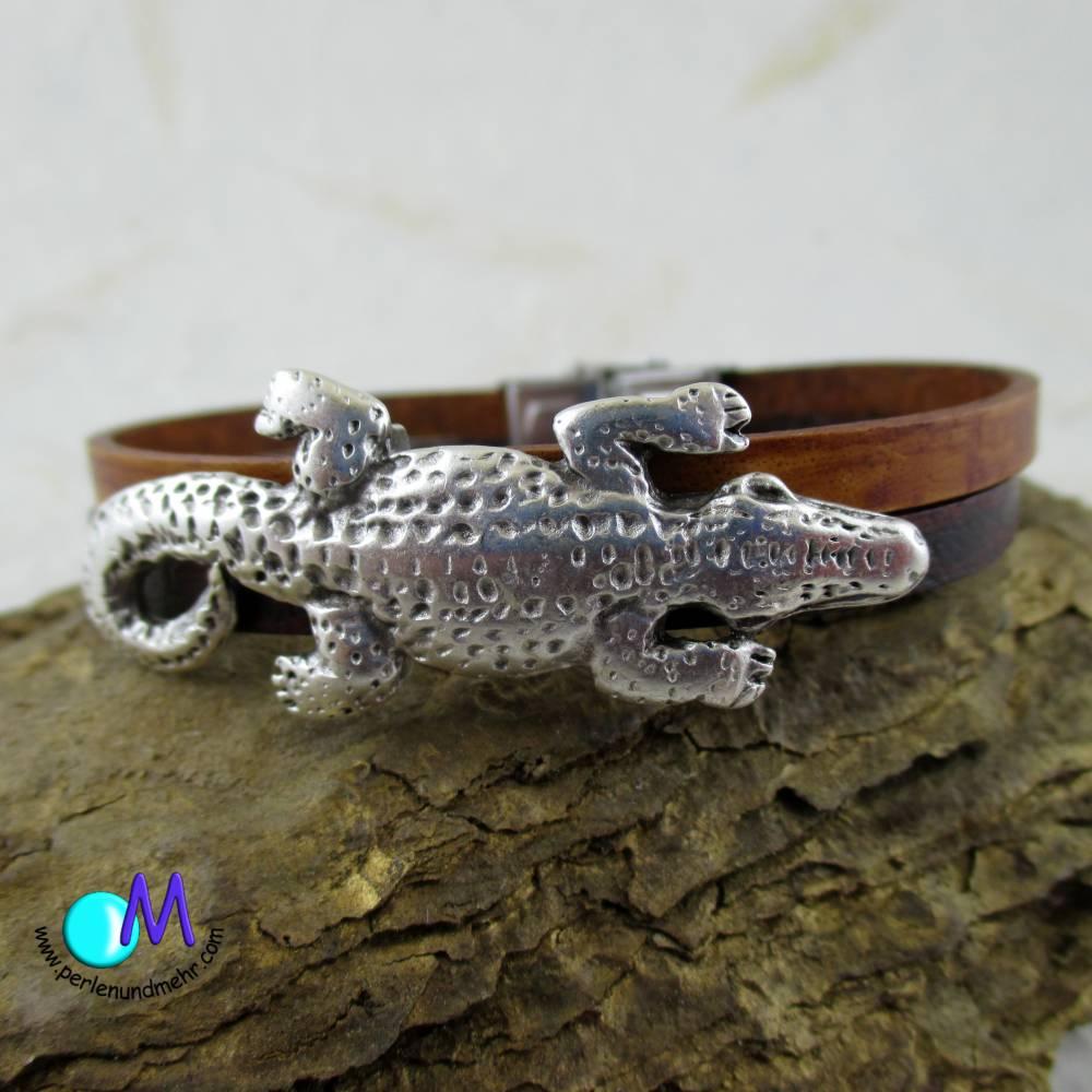 Krokodil  echt Leder Armband für den Mann in Wunschlänge ART 4098 Bild 1