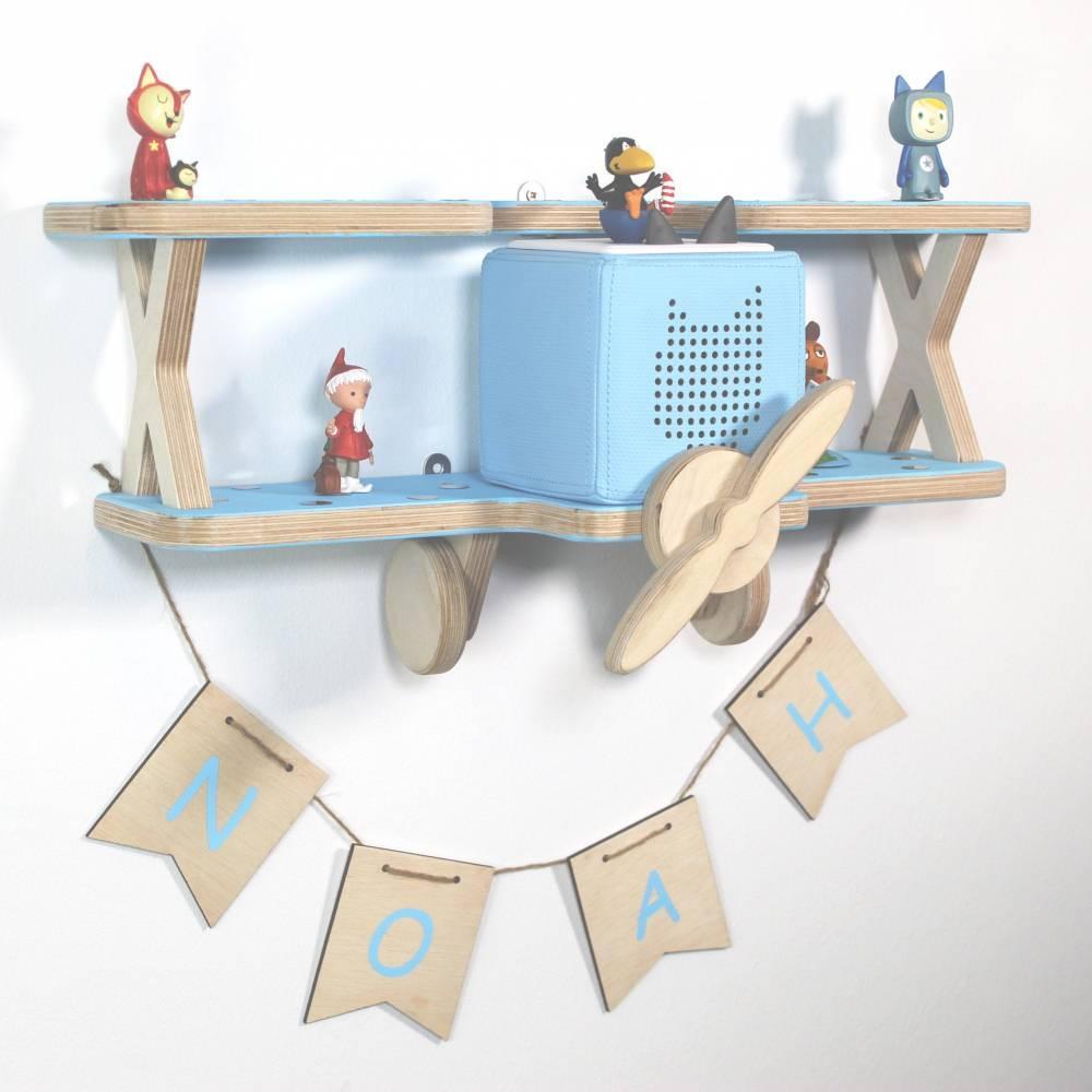Regal für Toniebox, Toniefiguren mit Wimpelkette und Name, Aufbewahrung für Tonies, Halterung für Toniebox, Motiv: Doppeldecker Flugzeug Bild 1