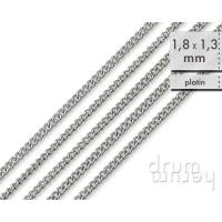 5 m (84 ct/m) Panzerkette 1,8 x 1,3 mm _ dünne, stabile Kette aus Messing _  platinfarben Bild 1