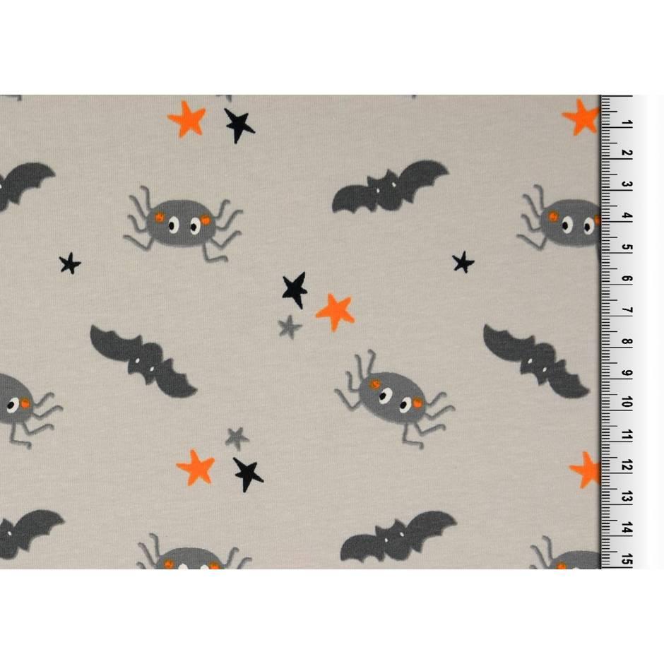 """Jersey Baumwolljersey """"Halloween"""" Spinnen und Fledermäuse auf grau Oeko-Tex Standard 100(1m/12,-€)  Bild 1"""