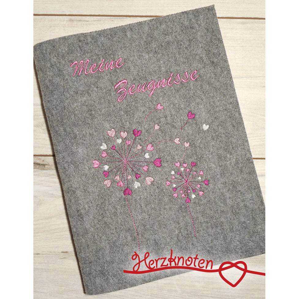 Zeugnismappe A4 gestickt auf grauem Filz , Pusteblume mit Herzchen, perfekt zur Einschulung, personalisierbar, mit Namen Bild 1