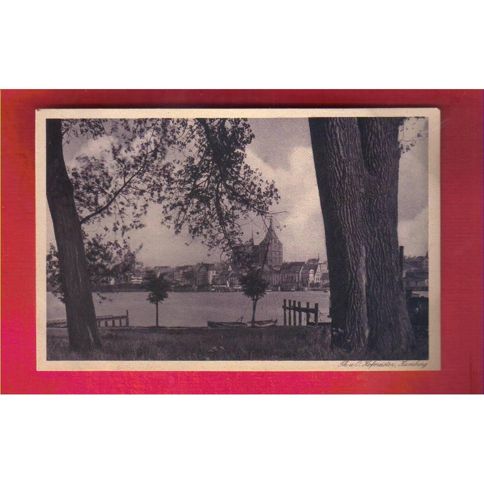 Ansichtskarte - Rostock von Gehlsdorf gesehen - ca. 1925 - Künstlerische Städte-Postkarte Bild 1