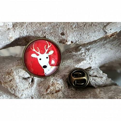 Button Pin Weihnachten Renni Rentier mit Cabochon als Anstecker